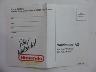 Club Nintendo Registration Card